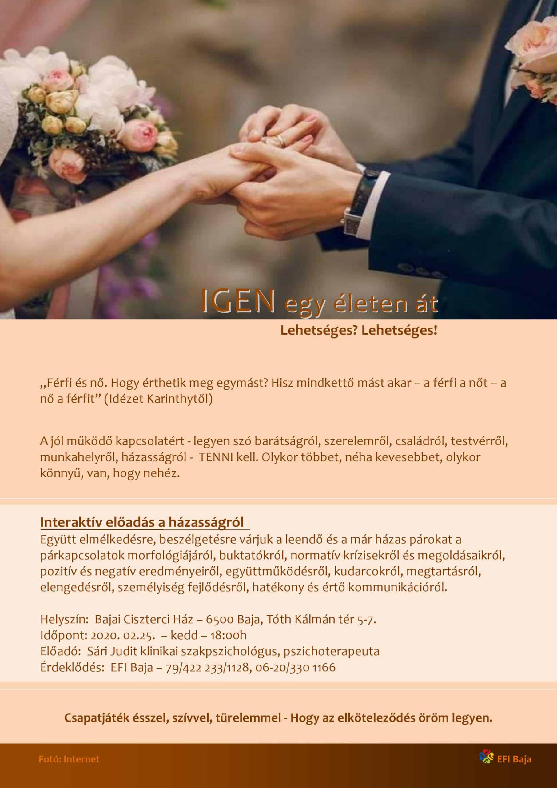 Interaktív előadás a házasságról
